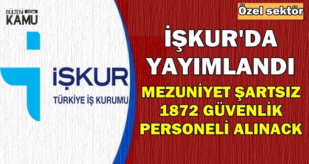 İŞKUR'da Yayımlandı: Mezuniyet Şartsız 1872 Güvenlik Personeli Alımı