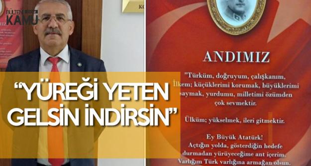 İYİ Partili Fahrettin Yokuş, Meclis Kapısına Astı ve Ekledi 'Yüreği Yeten Gelsin İndirsin'