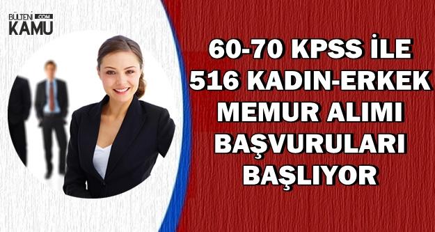 60-70 KPSS ile En Az Lise Mezunu 516 Memur Alımı-Başvurular Başlıyor