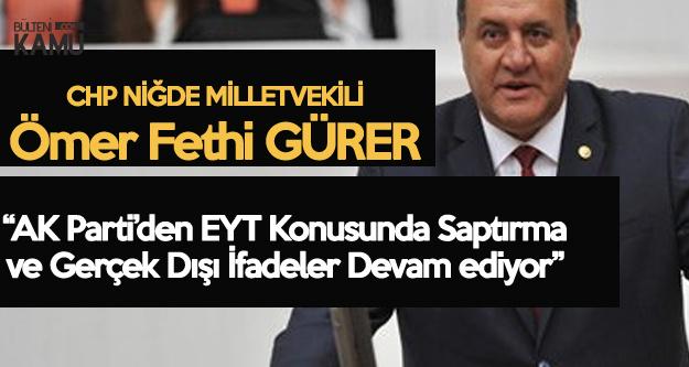 Ömer Fethi Gürer'den AK Parti Genel Başkan Yardımcısı'na EYT Tepkisi : Olur da Bu Kadar Saptırma Olur