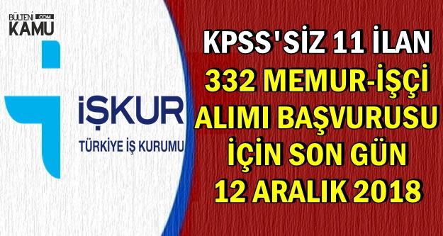 KPSS'siz Kamu İlanları: 332 Büro Memuru-İşçi Alımı Başvurusu Sona Eriyor