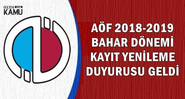 Anadolu Üniversitesi AÖF Bahar Dönemli Kayıt Yenileme Tarihleri ve Sayfası