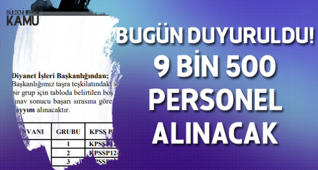 Diyanet İşleri Başkanlığı (DİB) 9 Bin 500 Sözleşmeli Personel Alımı Yapacak