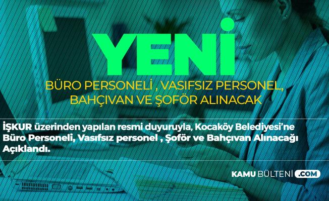 Diyarbakır Kocaköy Belediyesi'ne Büro Elemanı Alımı, Şoför Alımı,Vasıfsız Personel ve Bahçıvan Alımı Yapılacak