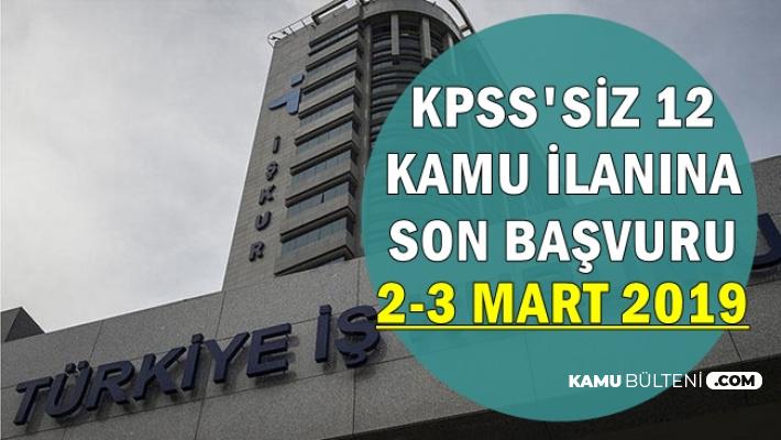 İŞKUR'da Yayımlanan 12 KPSS'siz Kamu İlanına Son Başvuru: 2-3 Mart 2019