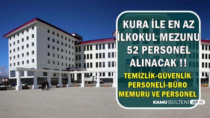 Kura ile Büro Memuru-Güvenlik-Temizlik Personeli ve İşçi Alımı-İŞKUR'dan En Az İlkokul
