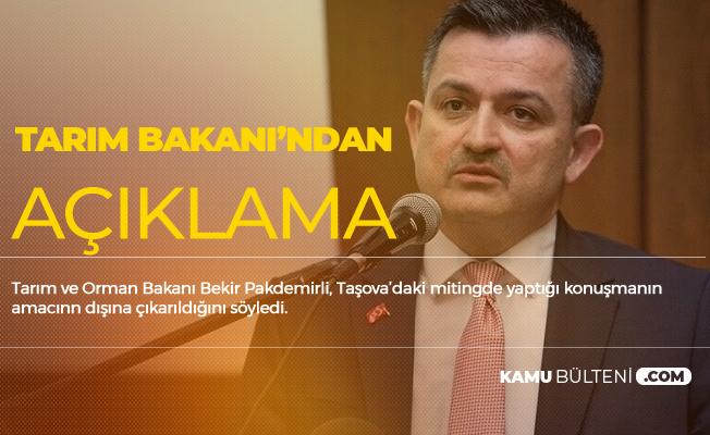 Tarım Bakanı'ndan Açıklama: Konuşmam Amacı Dışında Lanse Edildi
