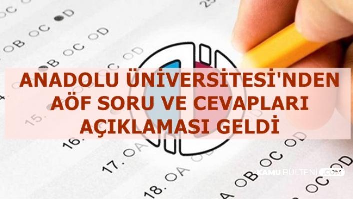 Anadolu Üniversitesi'nden AÖF Soru ve Cevapları Açıklaması (E Kampüs)