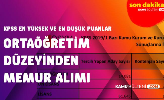 KPSS 2019/1 ile Memur Alımı (Ortaöğretim) KPSS En Yüksek ve En Düşük Puanlar