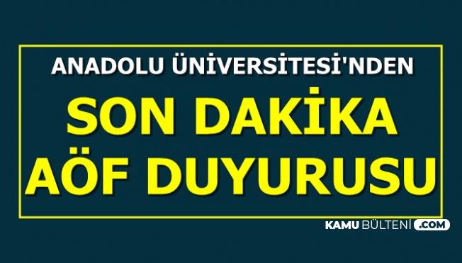 Anadolu Üniversitesi'nden AÖF Kayıt Duyurusu