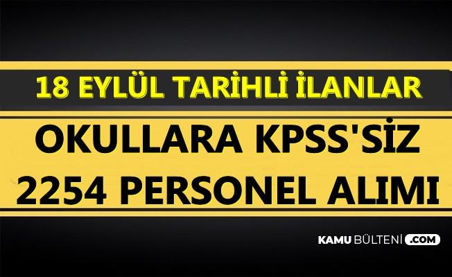 18 Eylül 2019 Tarihli TYP İlanları: İŞKUR'dan KPSS'siz 2254 Personel Alımı