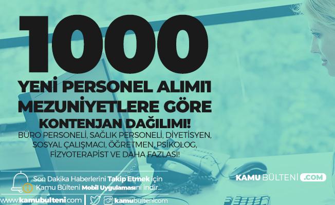 1000 Sözleşmeli Personel Alımında Ortaöğretim, Önlisans ve Lisans Mezunları için Kontenjan Dağılımı!
