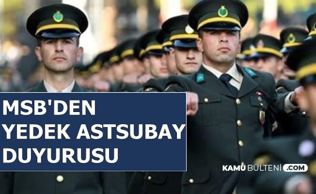 MSB'den Son Dakika Yedek Astsubay Duyurusu 2019