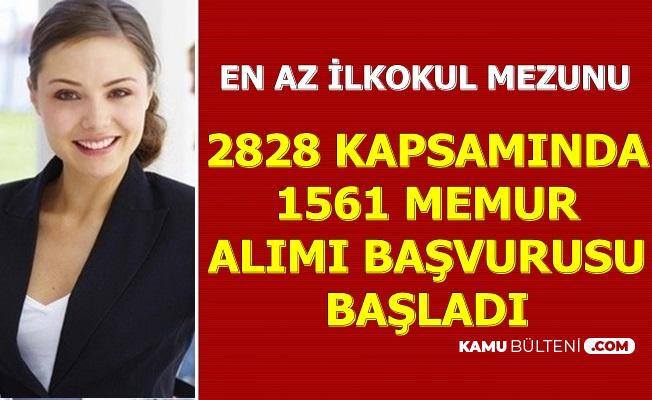 2828 Sosyal Hizmetler Kapsamında 1561 Memur Alımı Duyurusu