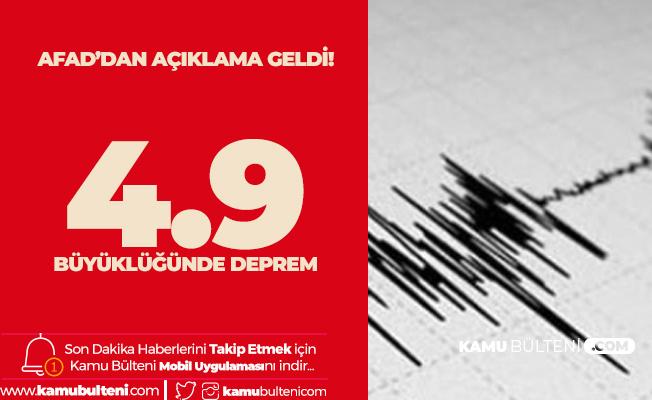 Akdeniz'de 4.9 Büyüklüğünde Deprem Meydana Geldi