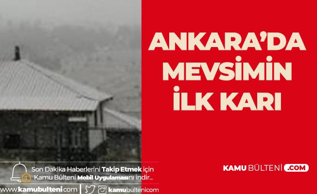 Ankara'da Mevsimin ilk Karı Kızılcahamam'a Yağdı