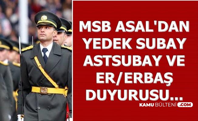 ASAL'dan Yedek Subay Astsubay ve Er/Erbaş Alımı Açıklaması