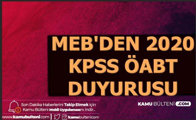 MEB'den 2020 KPSS ÖABT Açıklaması: 18 Alan Açıklandı