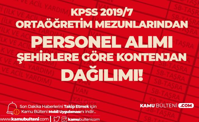 Sağlık Bakanlığı KPSS 2019/7 Sözleşmeli Personel Alımı Ortaöğretim Kontenjan Dağılımı