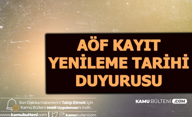 Anadolu Üniversitesi'nden AÖF Bahar Dönemi Kayıt Yenileme Tarihi Duyurusu