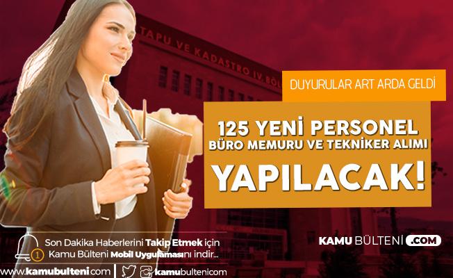 KPSS 2020/3 ile Tapu ve Kadastro Genel Müdürlüğü'ne 125 Sözleşmeli Personel (Büro Memuru Alımı ve Tekniker Alımı) Alınacak - İşte Tercih Tarihleri