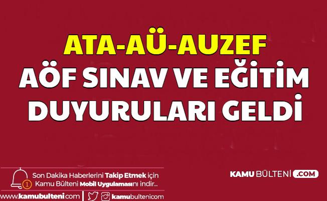 ATA-AUZEF ve Anadolu Üniversitesi'nden AÖF Duyurusu