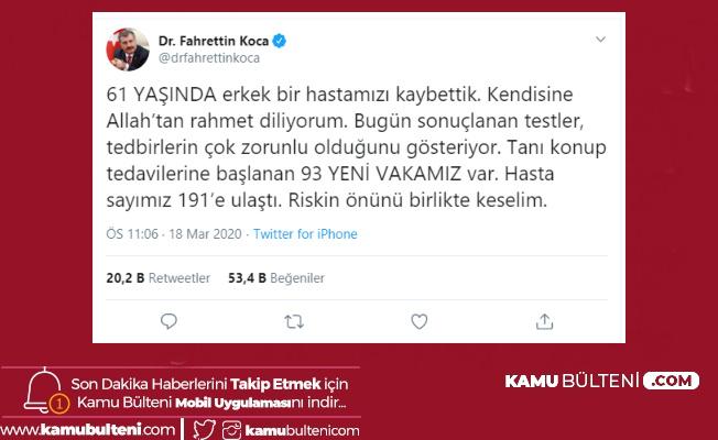 Sağlık Bakanı Fahrettin Koca Açıkladı: 2 Ölü 191 Vaka