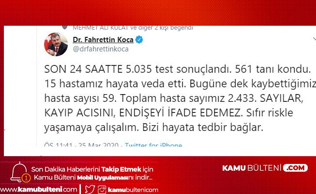 Son Dakika! Sağlık Bakanı Açıkladı! Koronavirüs'ten Hayatını Kaybeden Kişi Sayısı 59'a Yükseldi