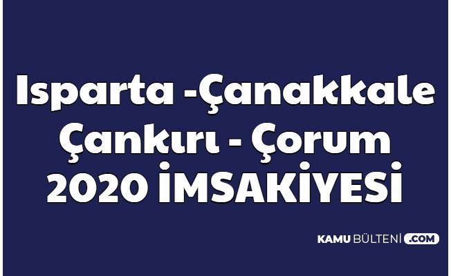 Çankırı , Çorum , Çanakkale ve Isparta 2020 İmsakiye
