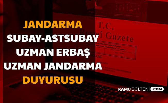 Jandarma Subay-Astsubay-Uzman Jandarma-Uzman Erbaş ve JÖH'ler ve Adaylar İçin Duyuru