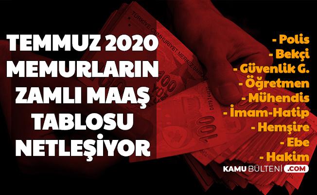 Enflasyon Farkına Göre Memurların Temmuz 2020 Zamlı Maaş Tablosu ve Eş Çocuk Parası (Polis, Bekçi, Öğretmen, Hemşire, Ebe)