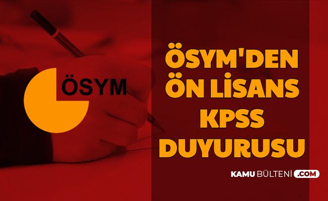 ÖSYM'den 2020 Ön Lisans KPSS Duyurusu