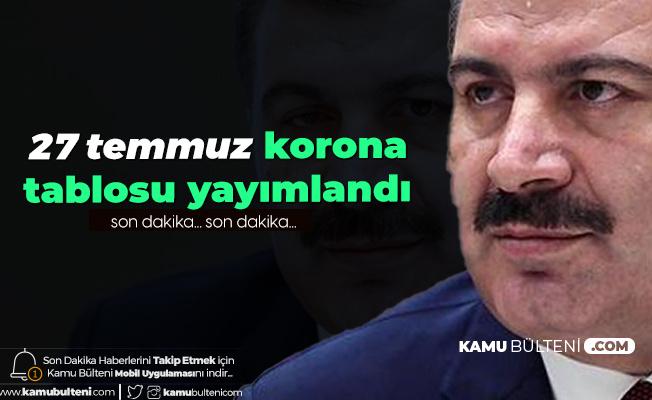 Sağlık Bakanı Fahrettin Koca 27 Temmuz Koronavirüs Tablosunu Paylaştı! İşte Türkiye'deki Son Durum...