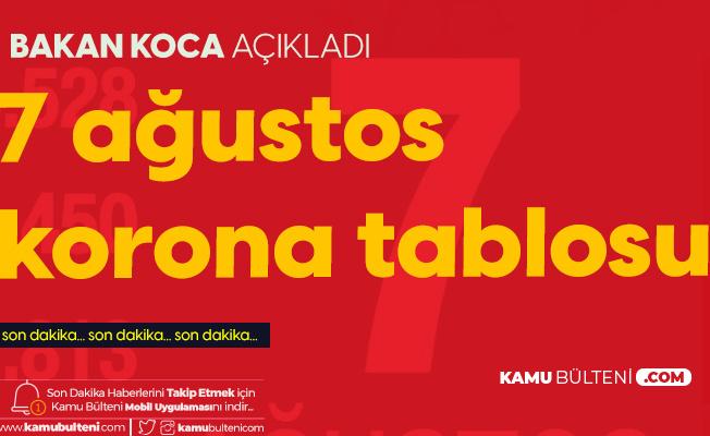 7 Ağustos Korona Tablosu Yayımlandı