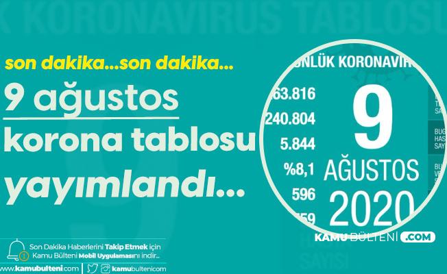 9 Ağustos Korona Tablosu Yayımlandı