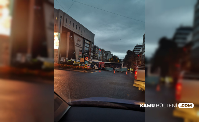 Ankara Kızılay'da Trafik Kazası: İki Otobüs Kafa Kafaya Çarpıştı