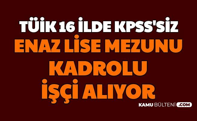 TÜİK, 16 Şehre KPSS Şartsız Kadrolu İşçi Alımı Yapıyor
