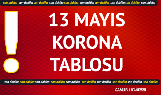 13 Mayıs Koronavirüs Tablosu