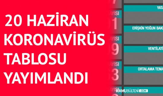 20 Haziran Koronavirüs Tablosu Yayımlandı