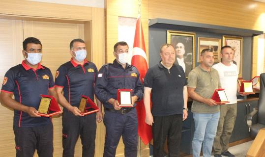 Yangın kahramanları ödüllendirildi