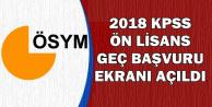 2018 Ön Lisans KPSS Geç Başvuru Ekranı Açıldı