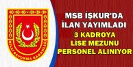 MSB İŞKUR'da İlan Yayımladı: 3 Kadroya Personel Alımı Yapılacak