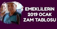 Bağ-kur ve SSK Emeklilerinin 2019 Ocak Ayı Zam Tablosu