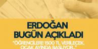 Erdoğan: Ocak Ayından İtibaren Öğrencilere 1500 Lira Verilecek