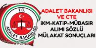İKM-Katip-Mübaşir Sözlü Mülakat Sonuç Sayfası (Adalet Bakanlığı-CTE)