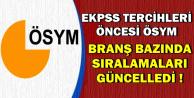 EKPSS Tercihleri Öncesi Branş Bazında Sıralamalar Güncellendi
