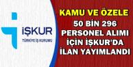 Kamu ve Özele 50 Bin 296 Personel Alımı İçin İŞKUR'da İlanlar Yayımlandı
