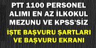 PTT 1100 Personel Alımı Başvuru Şartları ve Başvuru Ekranı
