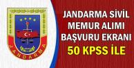 Jandarma 50 KPSS ile 1 Memur Alımı Başvuru Ekranı Açıldı