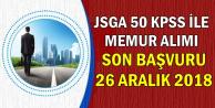 JSGA Düşük KPSS ile Sivil Memur Alımı Son Başvuru: 26 Aralık 2018